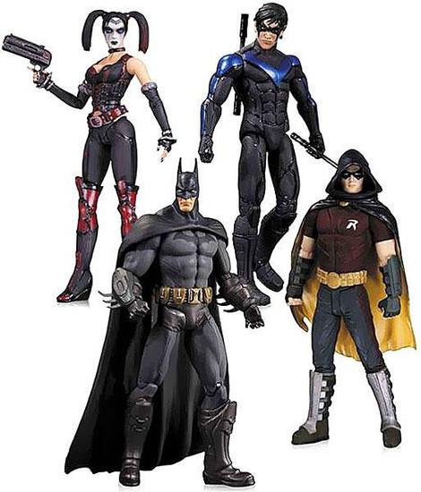 Arkham City Robin, Harley Quinn, Batman & Nightwing Action Figure 4-Pack