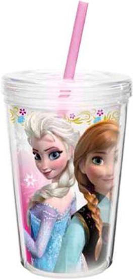 Disney Frozen 13 Oz Anna & Elsa Double-Wall Tumbler with Straw