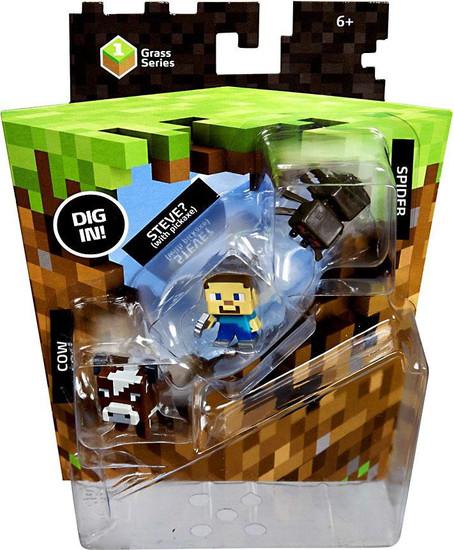 Minecraft Grass Series 1 Spider, Steve & Cow Mini Figure 3-Pack