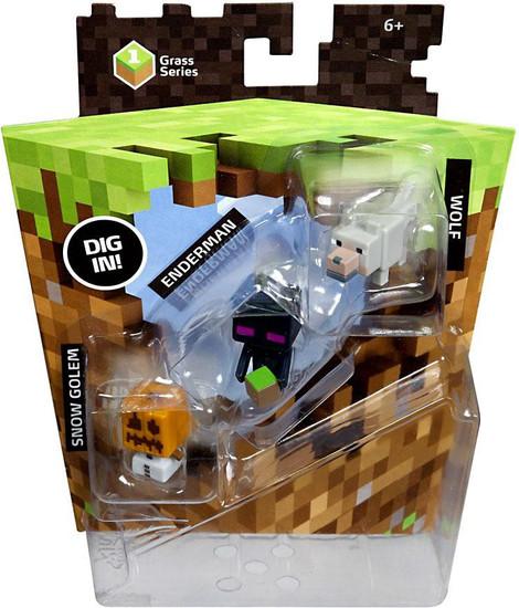 Minecraft Grass Series 1 Wolf, Enderman & Snow Golem Mini Figure 3-Pack