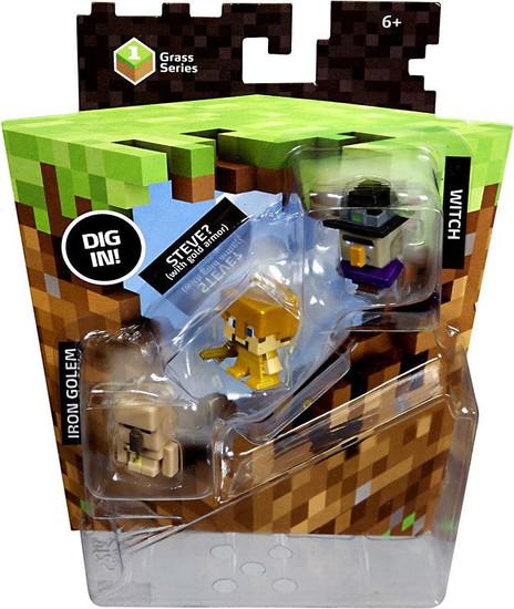 Minecraft Grass Series 1 Witch, Gold Armor Steve & Iron Golem Mini Figure 3-Pack