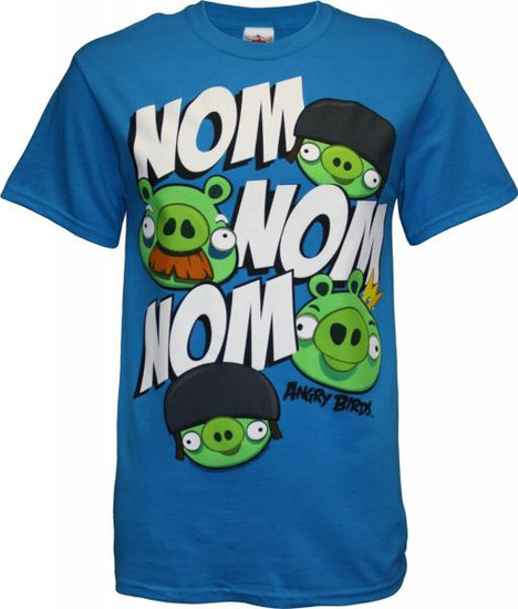 Angry Birds Nom Nom Nom T-Shirt [Blue, Adult Large]