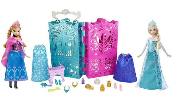 Disney Frozen Dual Vanity with Sparkle Princess Anna & Elsa Doll Set