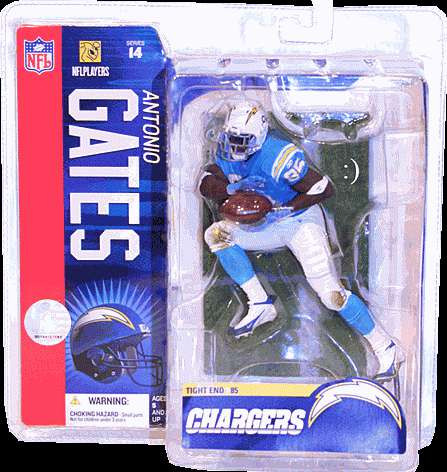 cheaper f644c 3e514 McFarlane Toys NFL San Diego Chargers Sports Picks Series 14 Antonio Gates  Action Figure [Powder Blue Jersey, Damaged Package]