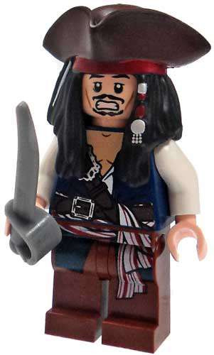 30df5edfc83 LEGO Pirates of the Caribbean Captain Jack Sparrow Minifigure  Tricorn Hat    Cutlass Loose