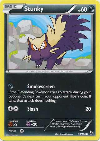 Pokemon X Y Flashfire Single Card Common Stunky 53 - ToyWiz