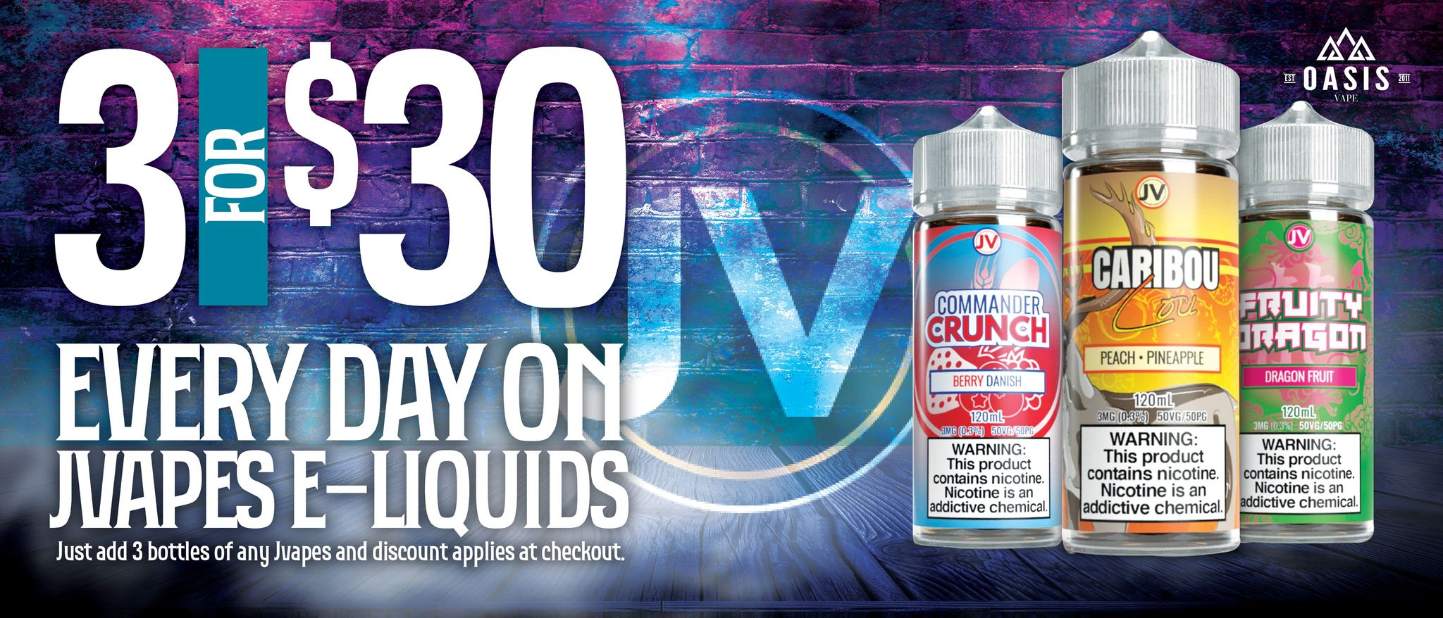 Three for $30 on all J-Vapes E-liquids. Just add any 120ml of J-Vapes E-liquids into your cart and discount applies manually at checkout.