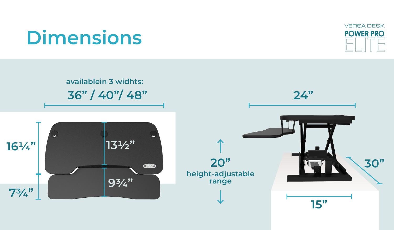 power pro elite electric lift standing desk dimensions