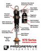 "Progressive Suspension 970 Piggyback Shocks Black 12.5"" V-Rod 07-17 (970-1011B)"