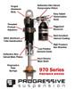 "Progressive Suspension 970 Piggyback Shocks Black 13"" V-Rod 07-17 (970-1011B)"