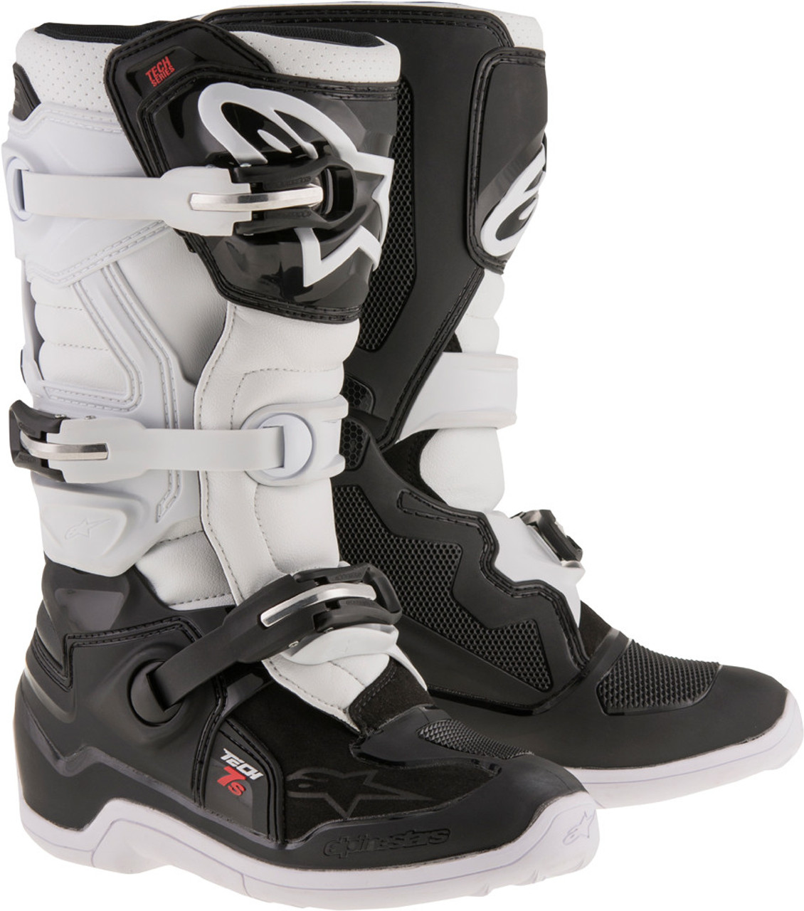 2e3b515132fa53 Alpinestars Tech 7S Youth Boots Black White - Speed Addicts
