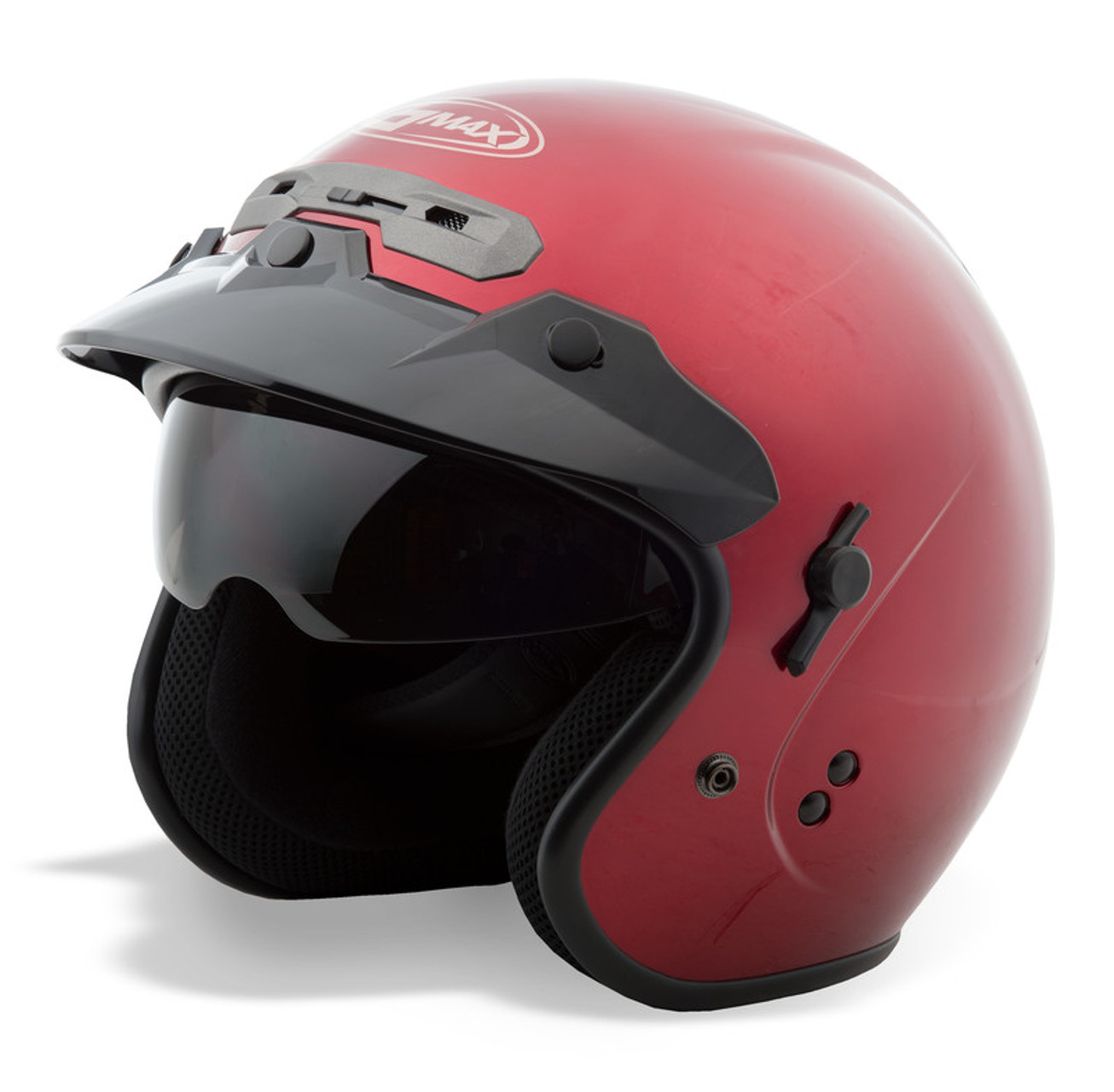 Medium GMAX OF-17 Open-Face Motorcycle Helmet Wine Red