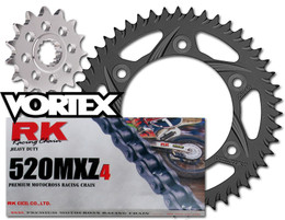 RK Vortex Blk MX Blk QA Chain and Sprocket Kit for KAW KX125 04-05