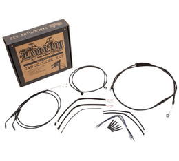 """Extended Black Control Cable Kit For Softails ABS 14/"""" tall bars B30-1124"""