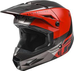 Fly Racing Youth Kinetic Straight Edge Helmet Red Black Grey