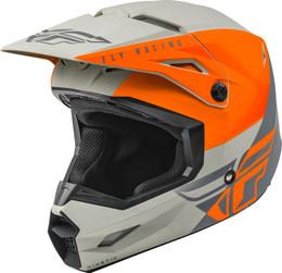 Fly Racing Youth Kinetic Straight Edge Helmet Matte Orange Grey