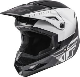 Fly Racing Youth Kinetic Straight Edge Helmet Black White