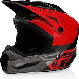 Fly Racing Kinetic Straight Edge Helmet Red Black Grey