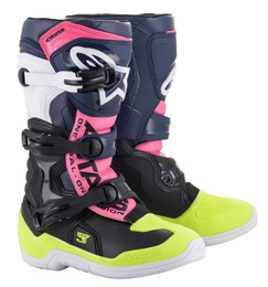 Alpinestars Tech 3S Youth Black Dark Blue Pink Fluo Boots