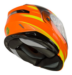 Gmax MD-01S Modular W Elec Shield Descendant Neon Org Hi-Vis Helmet