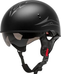 Gmax HH-65 Half Helmet Pin Naked Matte Black Dark Silver