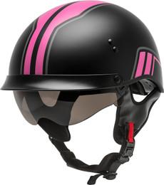 Gmax HH-65 Half Helmet Full Dressed Twin Matte Black Pink