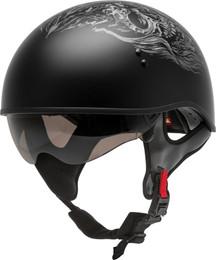 Gmax HH-65 Half Helmet Ghost Rip Naked Matte Black Silver
