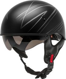 Gmax HH-65 Half Helmet Torque Naked Matte Black Silver