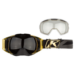 Klim Oculus Gold-Smoke Dissent Goggle with Polarized and Clear Lens