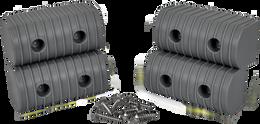 Caliber Bunk Wrap End Cap Kit 2X4 4/Pack W/ Hardware Grey - 23051