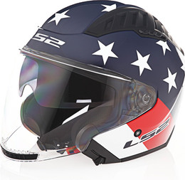 LS2 Copter American Gloss Red White Blue Helmet