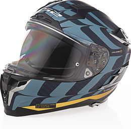 LS2 Challenger C Flames Blue Carbon Gold Helmet