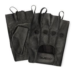 Olympia 407 Mens Fingerless Gel Black Classic Riding Gloves