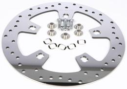 Harddrive Front Drilled Brake Rotor Polished Touring 14-Up - 144154