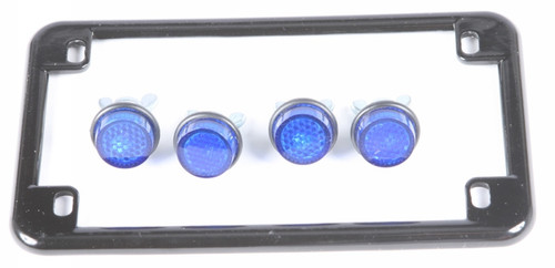 CHRIS PRODUCTS LICENSE PLATE FRAME W/4 BLUE R EFLECTORS (BLACK) (0613)