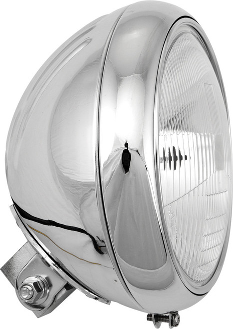 "HARDDRIVE 7"" HEADLIGHT GROOVED SHELL CHROME (L20-6084GD)"