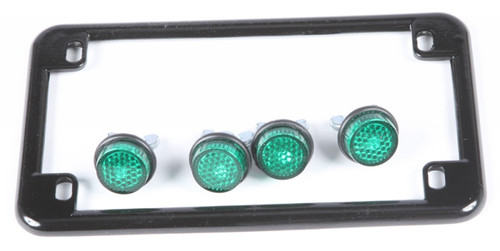 CHRIS PRODUCTS LICENSE PLATE FRAME W/4 GREEN REFLECTORS (BLACK) (0614)