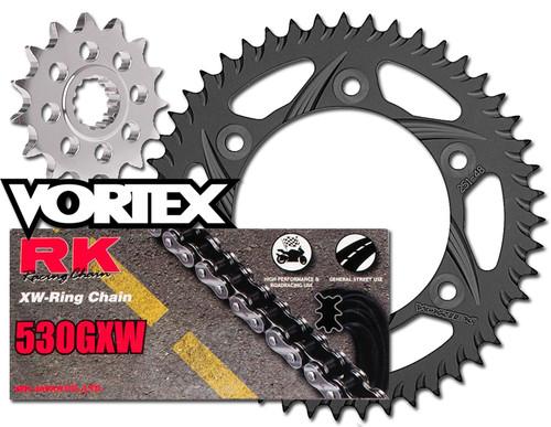 RK Vortex O-Ring Blk Alum Chain Sprocket Kit SUZ GSXR1300R Hayabusa 08-09 11-12