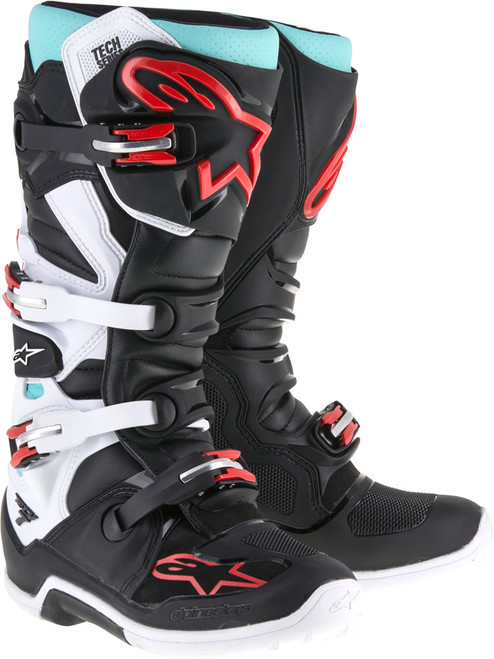 Alpinestars Tech 7 Boots Black Turquoise White Red