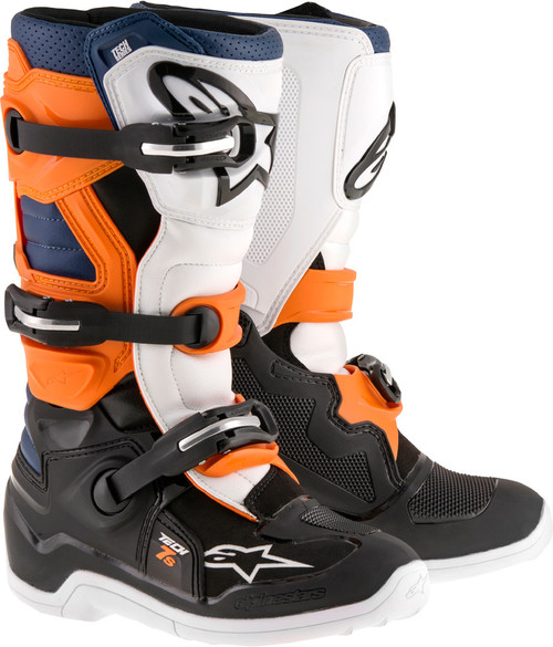 Alpinestars Tech 7S Youth Boots Black Orange White Blue