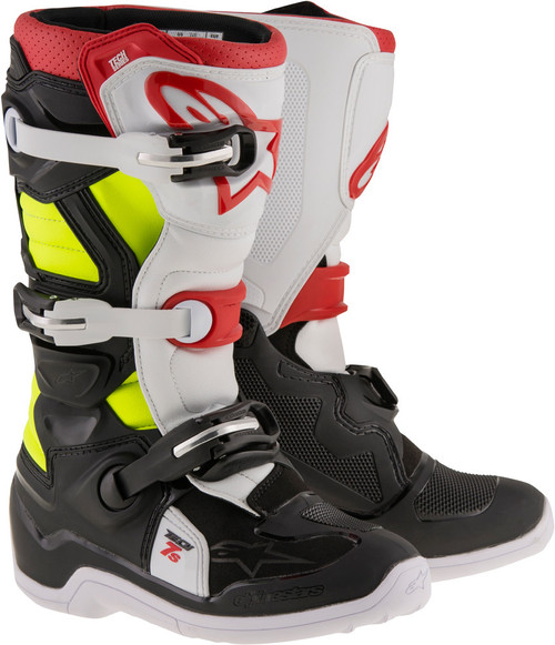 Alpinestars Tech 7S Youth Boots Black Red Yellow