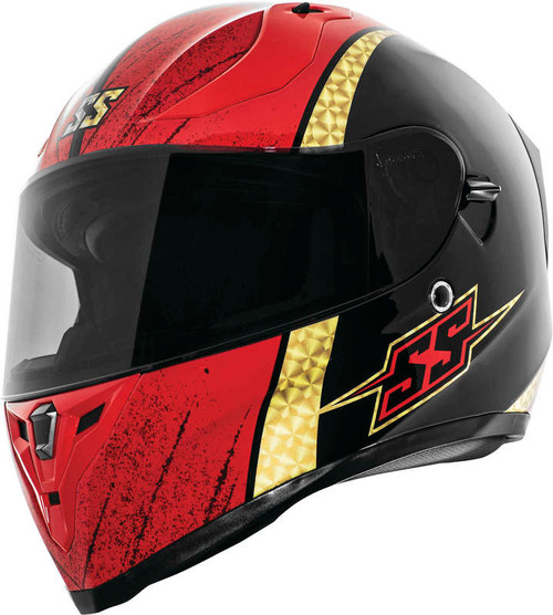 Speed and Strength SS2100 Heretic Helmet Black Gold Red