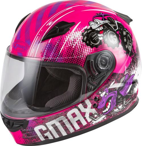 Gmax Youth GM-49Y Beasts Full-Face Helmet Pink Purple Grey