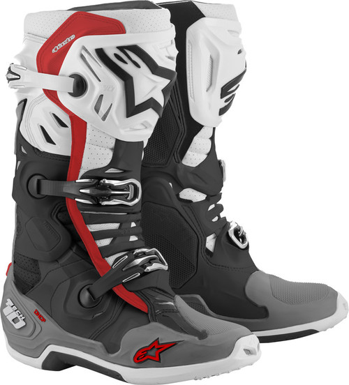 Alpinestars Tech 10 Supervented Boots Black White Mid Grey Red