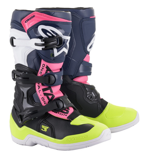 Alpinestars Tech 3S Youth Black Dark Blue Pink Fluo Boots