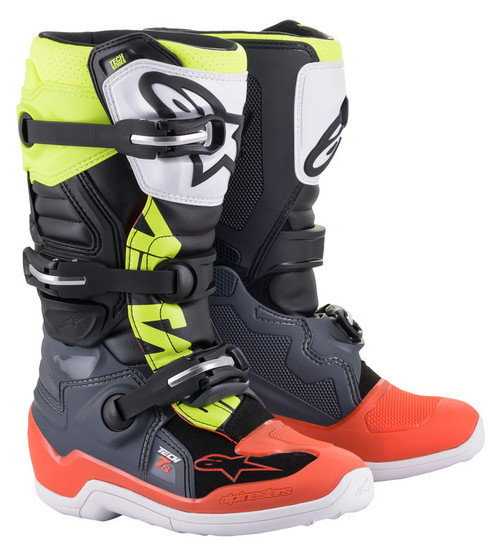 Alpinestars Tech 7S Dark Grey Red Fluo Yellow Boots