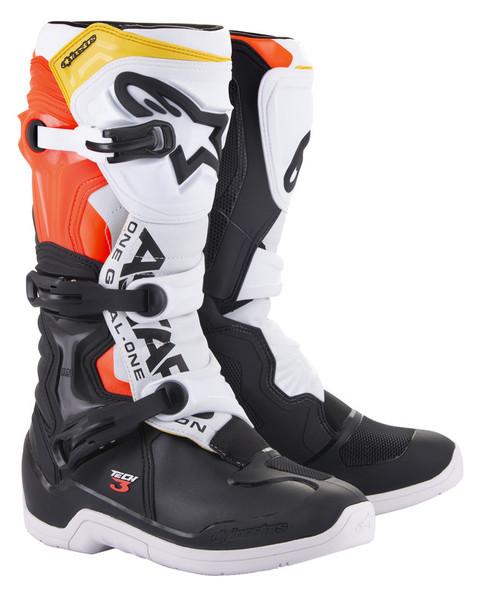 Alpinestars Tech 3 Black White Red Fluo Yellow Boots
