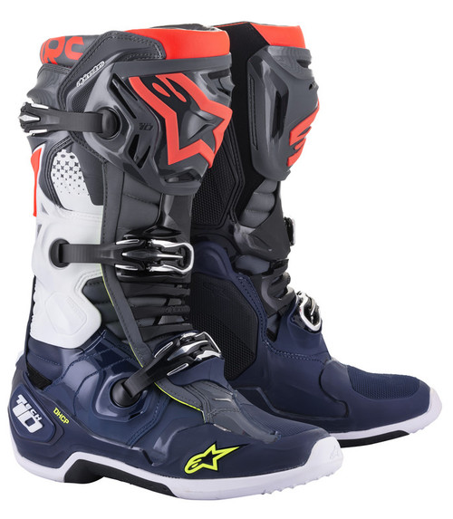 Alpinestars Tech 10 Dark Grey Blue Red Fluo Boots