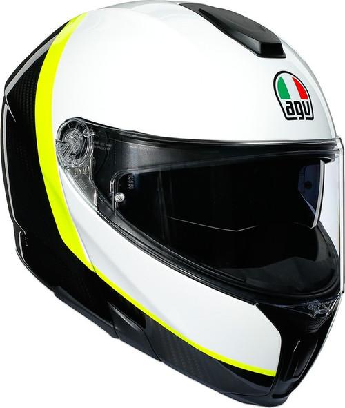 AGV SportModular Carbon White Yellow Helmet