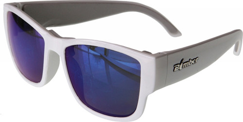 BOMBER GOMER BOMB FLOATING EYEWEAR GLOSS WHITE W/BLUE MIRROR LENS (GM103-BM)